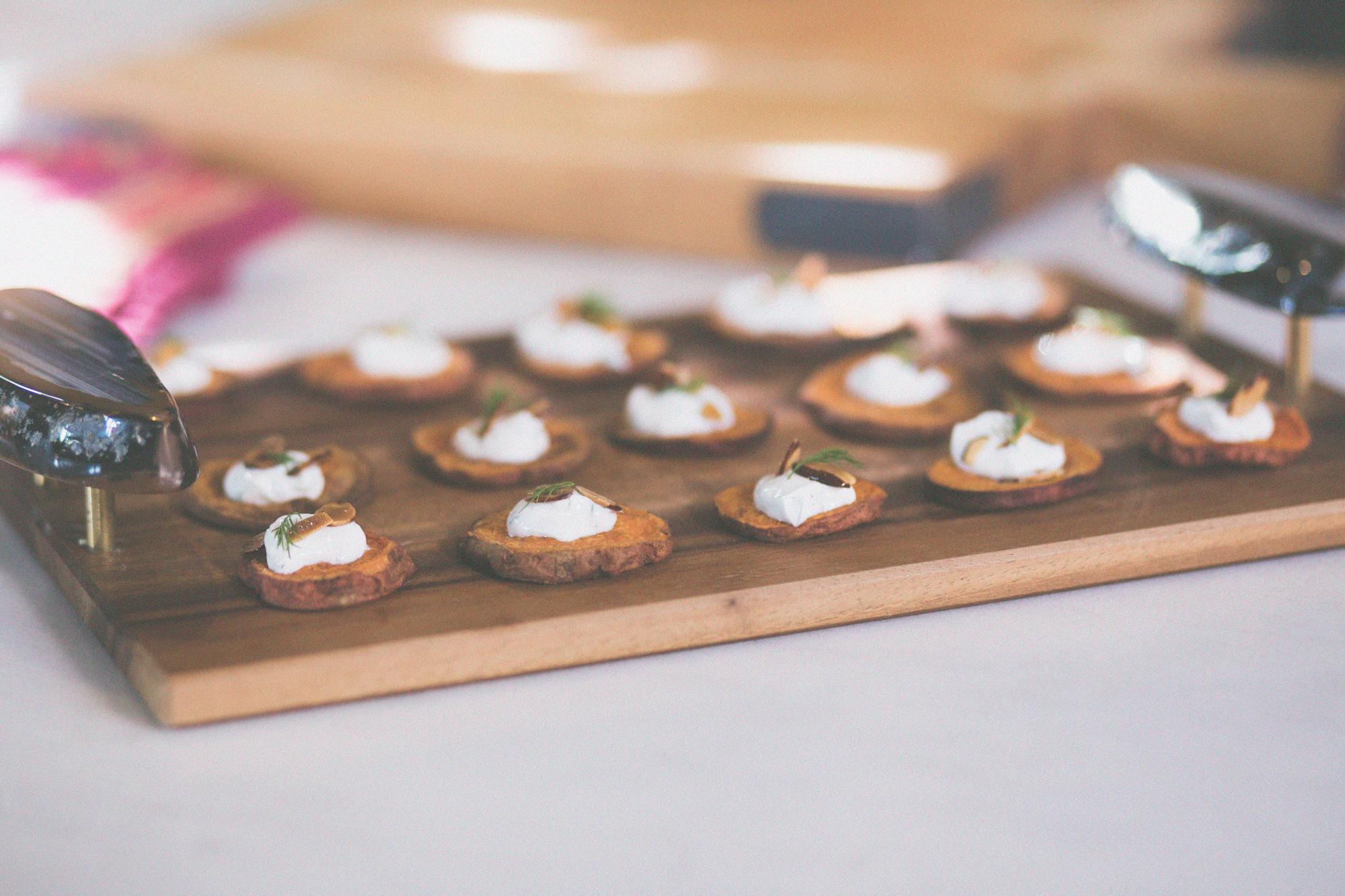Sweet Potato Rounds with Yogurt Dill Sauce and Almond Crunch