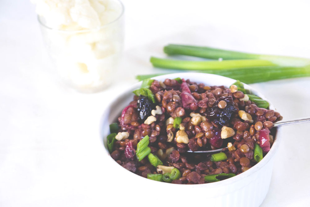 Whip up some savory lentils with cranberries to close out the year.